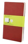 Moleskine Cahier Large Plain Notebook Red (Düz 3'lü Paket)