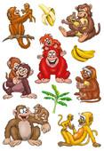 Herma Çocuk Etiketleri Sevimli Maymun Ailesi 3261