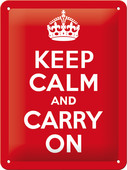 Nostalgic Art Keep Calm and Carry On Metal Kabartmalı Pin Up Duvar Panosu (15x20 cm) 26165