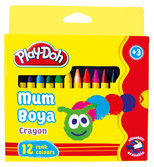 Play-Doh 12 Renk Crayon Pastel Boya Karton Kutu 8mm Play-Cr004