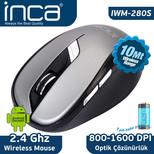 Inca IWM-280S 2.4GHz 1600 Dpi Inca- Track Red Sensör Wireless Nano Alıcılı Mouse- Gri