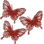 PMS Kırmızı Simli Kelebek 4'lü
