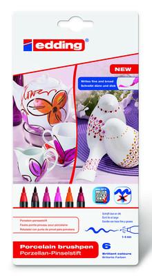 Edding Porselen Kalemi 6'lı Set - Sıcak Renkler E-4200