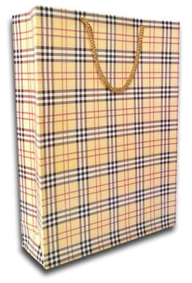 Deffter Lovely Bag 19 - Brown Plaid Hediye Torbası 64657-9