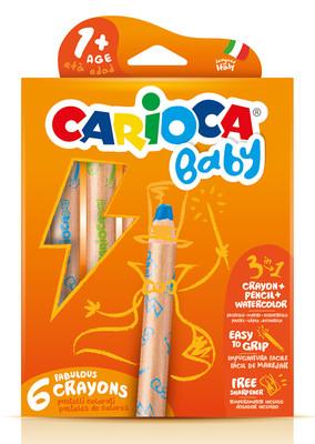 Carioca 3 in 1 Jumbo Bebek Ahşap Gövdeli Boya Kalemi 6'lı 42817