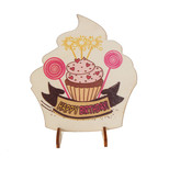 Ahşap Hediyelik Kart - Cupcake