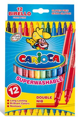 Carioca Birello Jumbo + Standart Çift Uçlu Süper Yıkanabilir Keçeli Boya Kalemi 12'Li