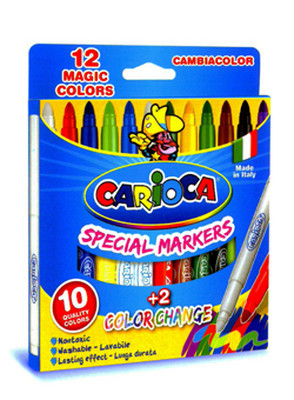 Carioca Renk Değiştiren Sihirli Keçeli Kalemler (10 Renk + 2 Renk Değiştirici Beyaz Kalem) - 41418
