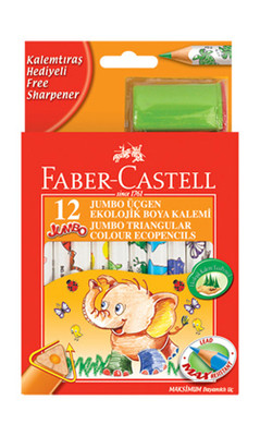 Faber-Castell Jumbo Üçgen Beyaz Gövde Boya Kalemi 12 Renk Yarim Boy - 5171123013