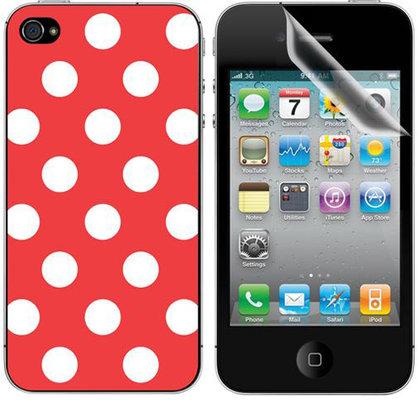 ttec Taks Puantiye 02 iPhone 4/4S Arka Yüzey ve Ekran Koruyucular Kırmızı 2EKR7591
