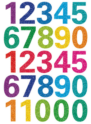 Herma Çocuk Etiketleri Isiltili Renkli Rakamlar 3279