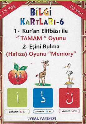 Bilgi Kartları 6 - 1. Kur'an Elifbası ile Tamam Oyunu 2. Eşini Bulma (Hafıza) Oyunu Memory