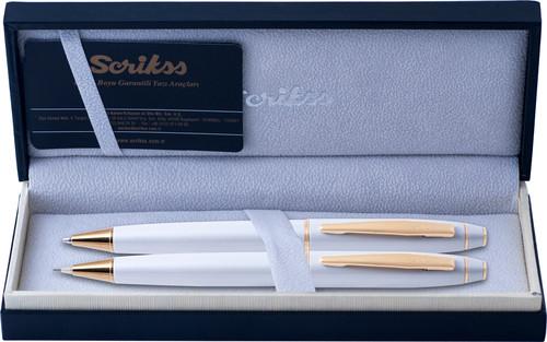 Scrikss 35 Tükenmezkalem & Versatil Takım Beyaz Altın Lüks Kutuda