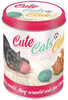 Nostalgic Art Cute Cats Club Yuvarlak Teneke Saklama Kutusu 30516