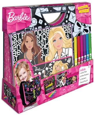 Fashion Angels Barbie Kadife Çantali Sanat Seti - (Poster,Kalem Kutu ve 6 Boya Kalemi) Lty22322