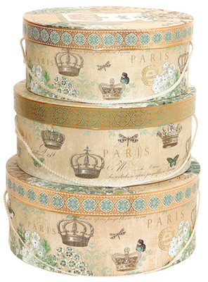 Tri-Coastal Design Iconic Garden - 3'lü Dekoratif Hat Box 3564-7171
