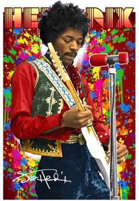 Jimi Hendrix Colour 3D Poster LN0119