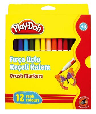 Play-Doh 12 Renk Fırça Uçlu Keçeli Kalem Play-Ke009