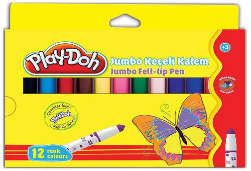 Play-Doh 12 Renk Jumbo Keçeli Kalem Karton Kutu 8mm Play-Ke010