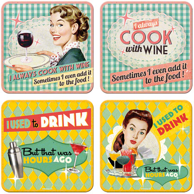 Nostalgic Art Say It 50s Drink Wine Bardak Altligi 9x9 cm (4 lü set) 46018