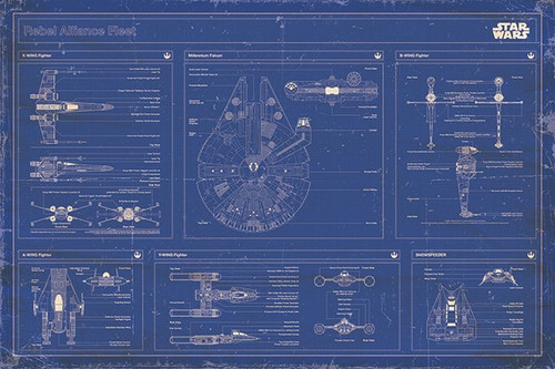 Pyramid International Maxi Poster - Star Wars - Rebel Alliance Fleet Blueprint