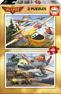Educa Puzzle Çocuk 2X48 Planes Fire Rescue 15956 Disney Karton