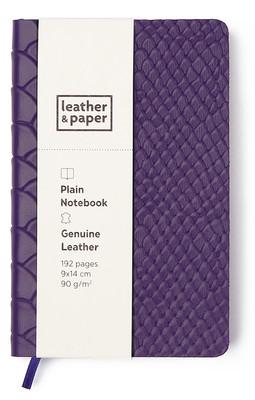 Leather & Paper Mor Yılan Baskı Deri Defter 9x14