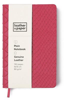 Leather & Paper Pembe Yılan Baskı Deri Defter 9x14