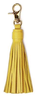 Leather & Paper Sarı Deri Püskül Anahtarlik