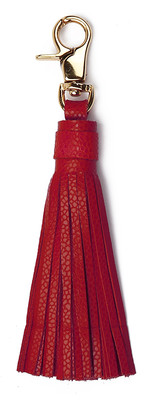 Leather & Paper Kırmızı Deri Püskül Anahtarlık