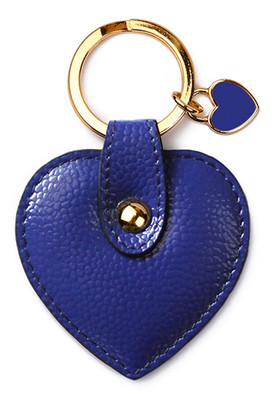 Leather & Paper Mavi Kalp Anahtarlık