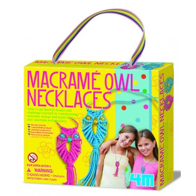 4M Macrame Owl Necklaces 4658