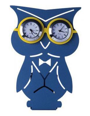 Tosbaa Metal Kalemlikli Masa Saati Baykuş Mavi