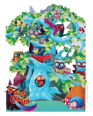 Santoro Gc-Swing Cards-Woodland Tree Of Birds Sc129