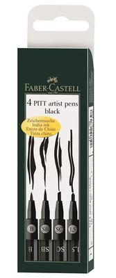 Faber-Castell Pitt Artist Pen 4'lü Siyah Farkli Uç 5188167139