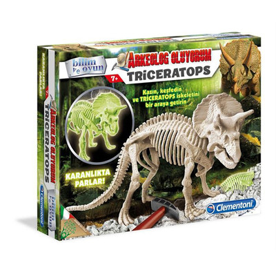 Clementoni Arkeolojik Kazi Seti - Triceratops (Floresan) 64562
