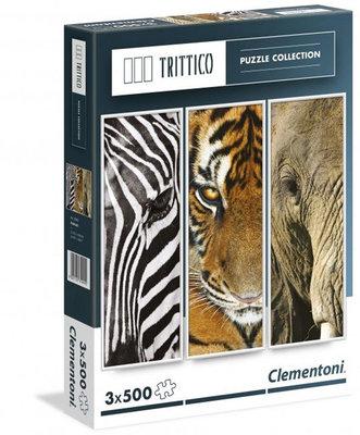 Clementoni 3X500 Parça Puzzle Trittico - Animals 39307