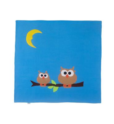 Petit Something-Baykuşlu Mavi Bebek Battaniyesi