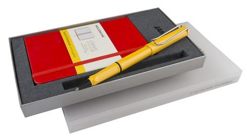 Lamy Safari Sarı Roller Kalem & Moleskine Kırmızı Kareli Cep Defter Seti LM-CR-S2