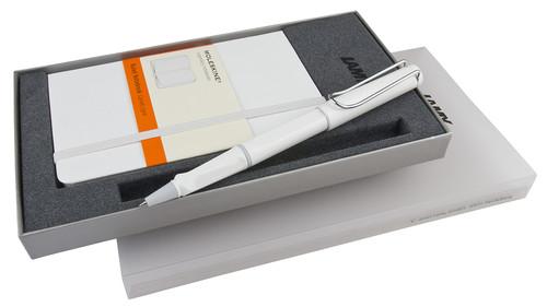 Lamy Safari Beyaz Roller Kalem & Moleskine Beyaz Çizgili Cep Defter Seti LM-CR-S3