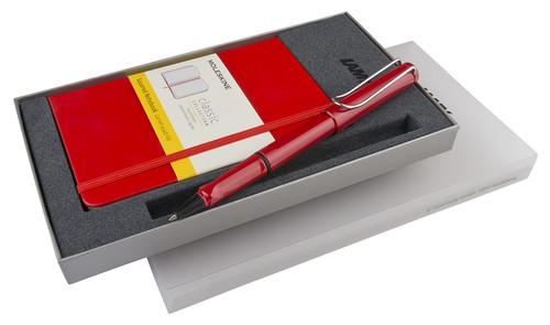 Lamy Safari Kırmızı Roller Kalem & Moleskine Kırmızı Kareli Cep Defter Seti LM-CR-S4