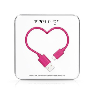 Happy Plugs Micro-USB to USB Charge/Sync Cable (2.0m) - Cerise h.p.9925