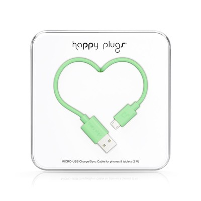 Happy Plugs Micro-USB to USB Charge/Sync Cable (2.0m) - Mint h.p.9929