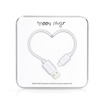 Happy Plugs Micro-USB to USB Charge/Sync Cable (2.0m) - White h.p.9927