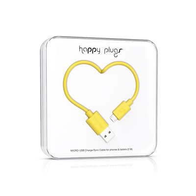 Happy Plugs Micro-USB to USB Charge/Sync Cable (2.0m) - Yellow h.p.9923