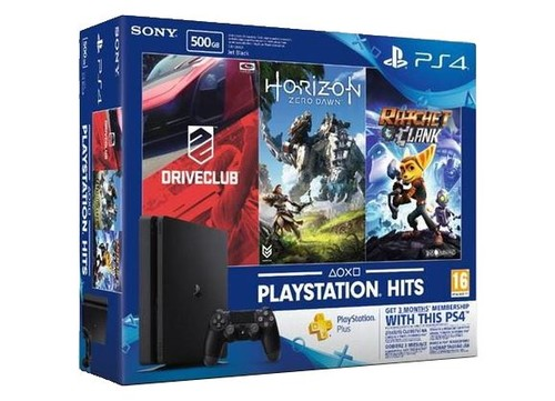 PS4 500GB Horizon+Driveclub+Ratchet And Clank+3ay PS Plus