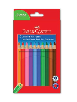 Faber Castell Jumbo Kuru Boya Kalemi 12 Renk