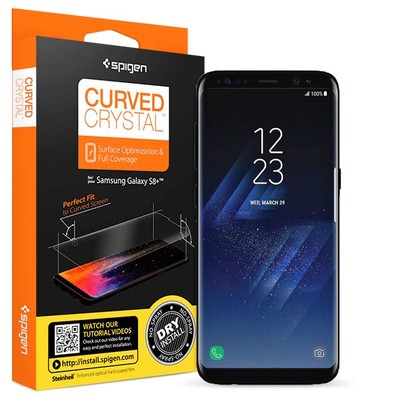 Spigen Galaxy S8 Plus Ekran Koruyucu Curved Crystal HD Kavisli Tam Kaplayan - 2 Adet