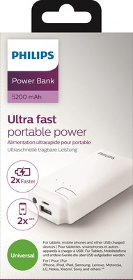 Philips 5200mAh Power bank 2.1A 1 USB  DLP5205U/10