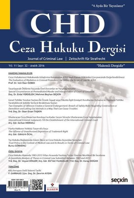 CHD Ceza Hukuku Dergisi Sayı 32 Aralık 2016